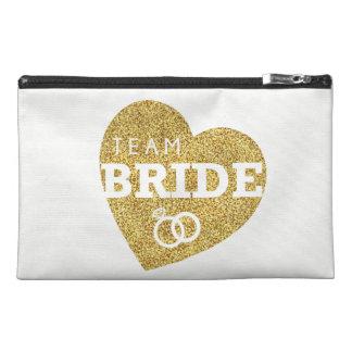 Team Bride Gold Glitter Bridal Bachelorette Bag Travel Accessory Bag