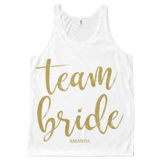 Team Bride Gold Glitter Bridesmaid Bachelorette All-Over Print Singlet
