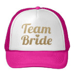 Team Bride Gold Glitter Hot Pink Trucker Hat