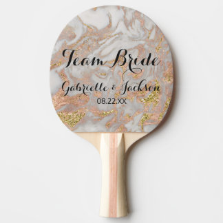 Team Bride Groom Modern Rose Gold Marble Wedding