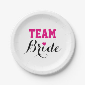 Team Bride Hot Pink Heart Paper Plates