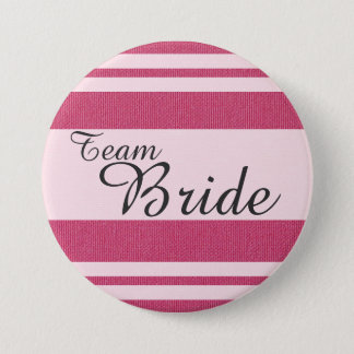 """Team Bride"" In Fancy Italic Dark Grey Font 7.5 Cm Round Badge"