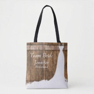 Team Bride In Rustic Wood Style Tote Bag