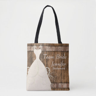 Team Bride In Rustic Wood Style Tote Bag