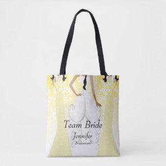 Team Bride in Yellow Tote Bag