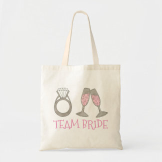 TEAM BRIDE Pink Champagne Wedding Bridal Party Bag
