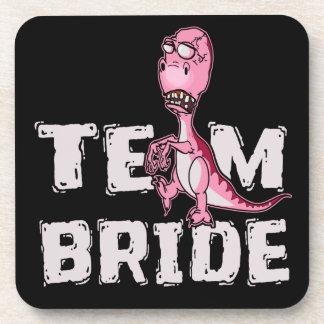 Team Bride Pink Dinosaur Bridal Shower Coaster