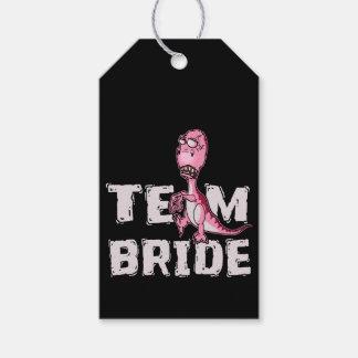 Team Bride Pink Dinosaur Bridal Shower Gift Tags