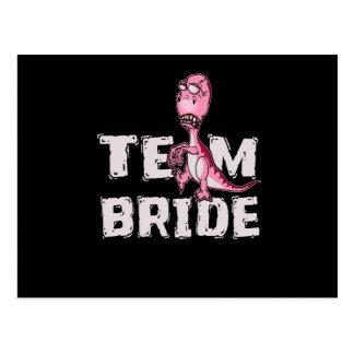 Team Bride Pink Dinosaur Bridal Shower Postcard