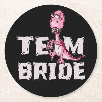 Team Bride Pink Dinosaur Bridal Shower Round Paper Coaster