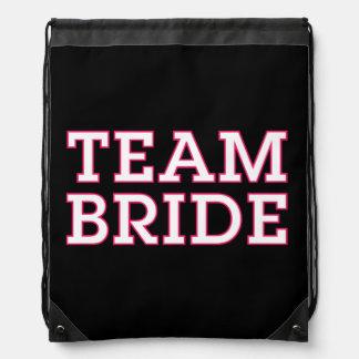 Team Bride Pink Outline Black Drawstring Bag