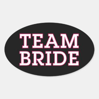 Team Bride Pink Outline Black Oval Sticker
