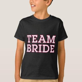 Team Bride Pink Outline Black T-Shirt