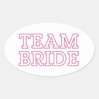 Team Bride Pink Outline Oval Sticker