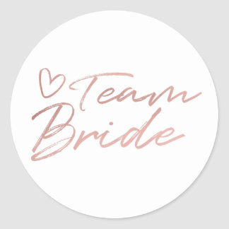 Team Bride - Rose Gold faux foil sticker