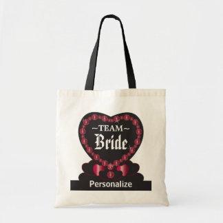 Team Bride | Ruby Red |Wedding | DIY Text Budget Tote Bag