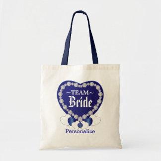 Team Bride   Sapphire Blue   Personalize Budget Tote Bag
