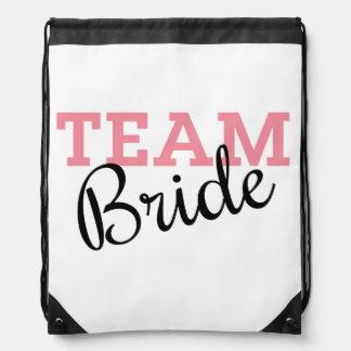Team Bride Script Drawstring Bag