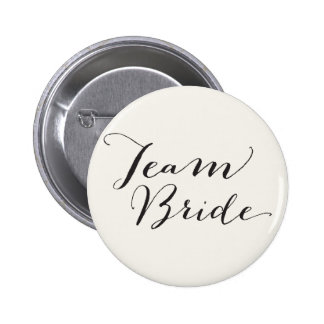 Team Bride Script Calligraphy Wedding Bridal Party 6 Cm Round Badge