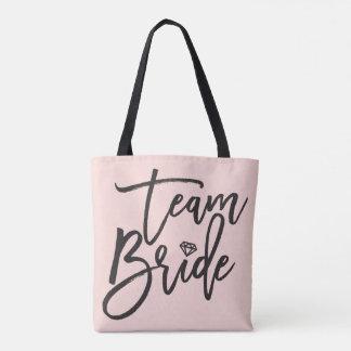 Team Bride Script Diamond Bridal Party Tote Bag