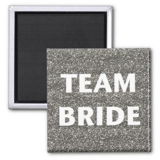 Team Bride Silver Glitter Refrigerator Magnet