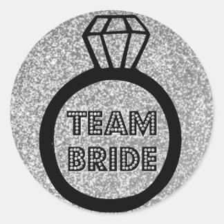 Team Bride | Silver Glitter | Ring | Sticker