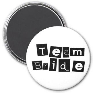 Team Bride (Sq Blk) 7.5 Cm Round Magnet