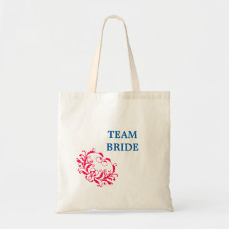 Team Bride Tote Bag with Red Swirls
