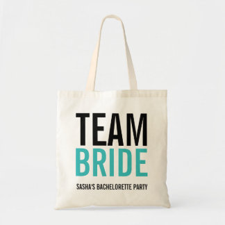 Team Bride Turquoise Bachelorette Party Budget Tote Bag