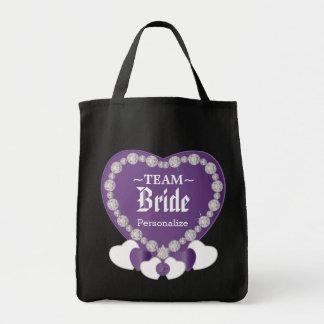 Team Bride | Wedding | Amethyst Purple | DIY Text Grocery Tote Bag
