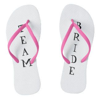 Team bride wedding day flip flops