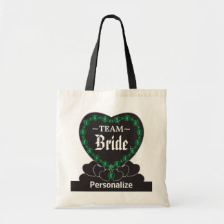 Team Bride | Wedding | Emerald Green | DIY Text Budget Tote Bag