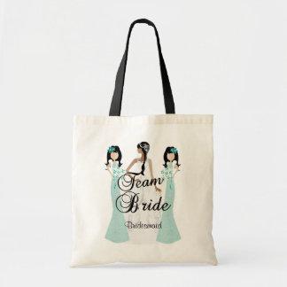 Team Bride | Wedding | Teal Green | DIY Text Budget Tote Bag