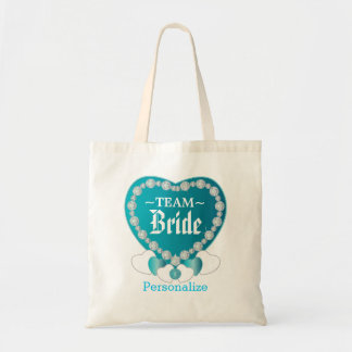 Team Bride | Wedding | Turquoise Blue | DIY Text Budget Tote Bag