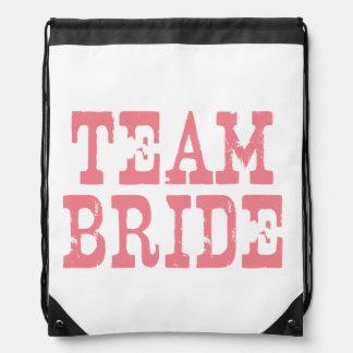 Team Bride Western Pink Drawstring Bag