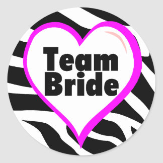 Team Bride (Zebra Print) Classic Round Sticker