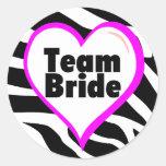 Team Bride (Zebra Print) Stickers