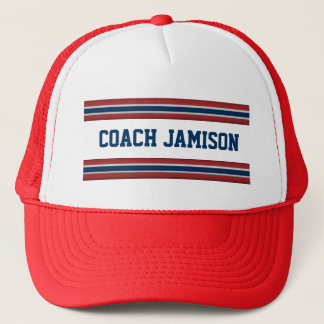 Team Coach Customized Name in Jersey Color Stripes Trucker Hat