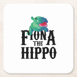 Team Fiona The Hippo Love Hippopotamuss Square Paper Coaster