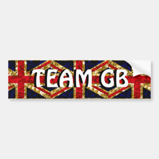 Team GB gold glitz sparkle UK flag bumper sticker