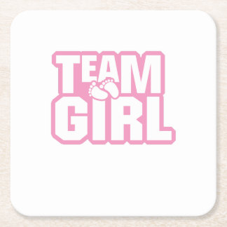 Team Girl Baby Shower Gender Reveal Funny Pregnant Square Paper Coaster