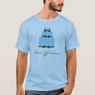 TEAM GROOM Blue and Brown Wedding Cake T-Shirt