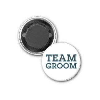 Team Groom Blue Outline 3 Cm Round Magnet