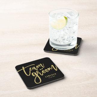 Team Groom Bow Tie Bachelor Party Wedding Custom Beverage Coasters