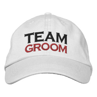 TEAM GROOM Custom Name WHITE A07C7G Embroidered Hats