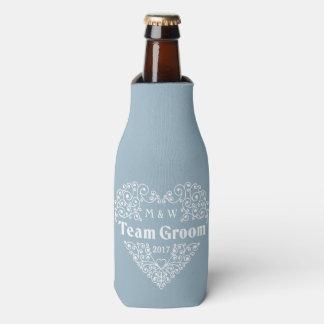 Team Groom custom text bottle cooler