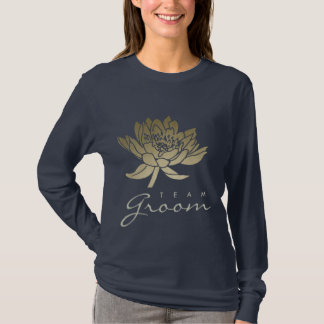 TEAM GROOM GLAMOROUS GOLD BLUE BLACK LOTUS FLORAL T-Shirt