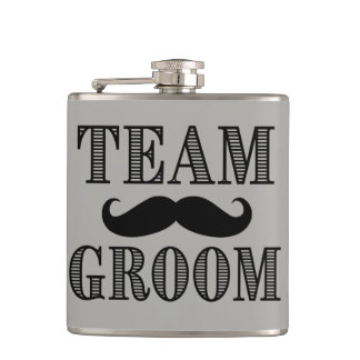 Team Groom Groomsman Flask mustache dapper Gift