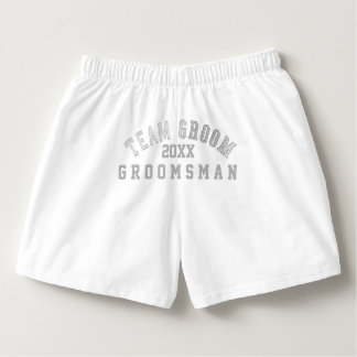 Team Groom Groomsman White Boxer Shorts Boxers