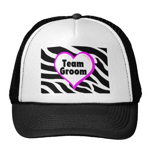 Team Groom (Heart Zebra Print) Hats